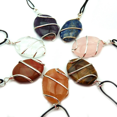 Wholesale - Chakra Wrapped Cabochon Pendant Sets (70pcs.)