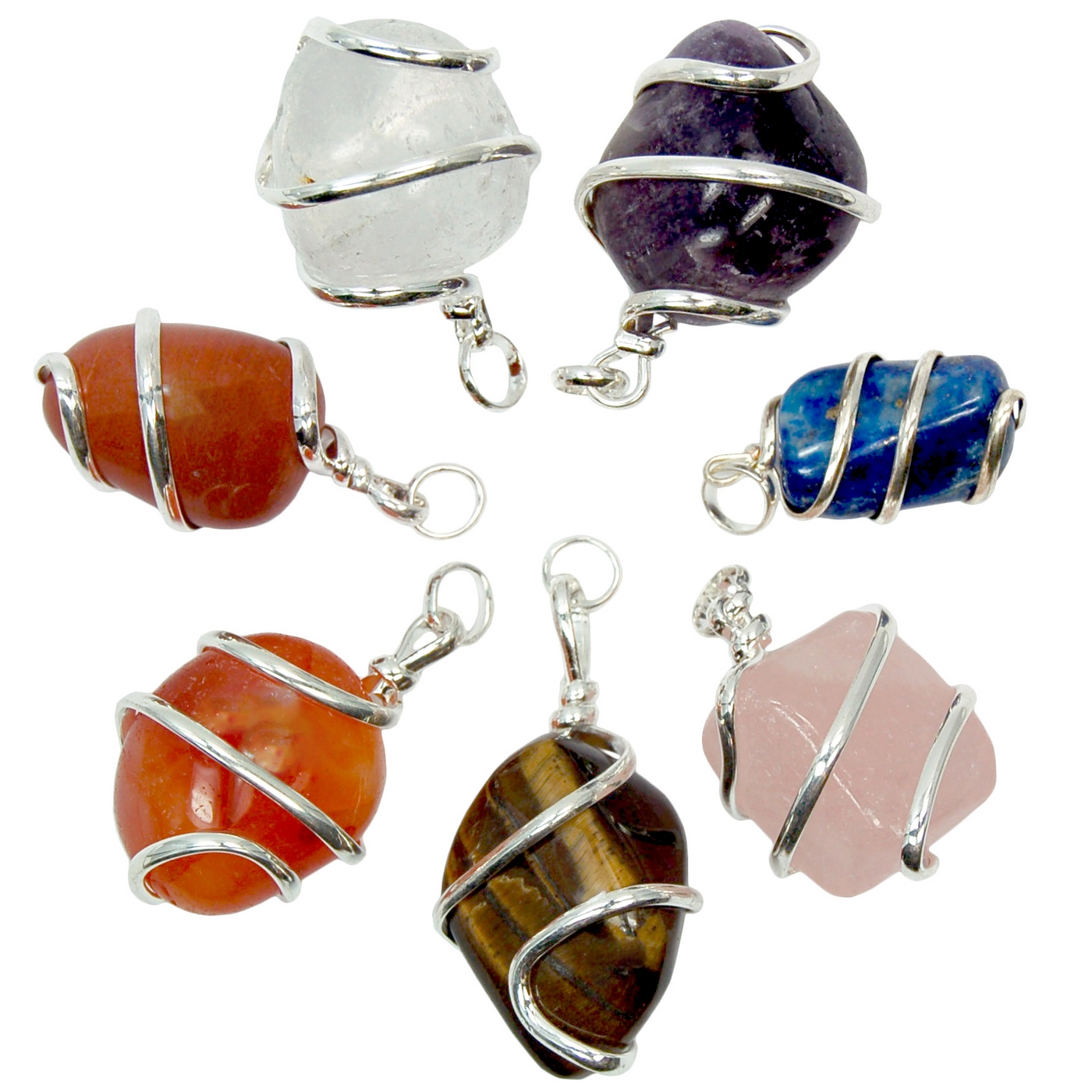 Wholesale - Chakra Tumbled Wrapped Pendant Sets (70pcs.)