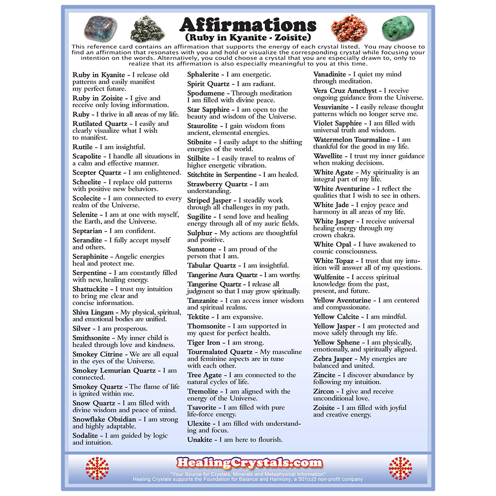 Affirmations Reference Chart - Healing Crystals