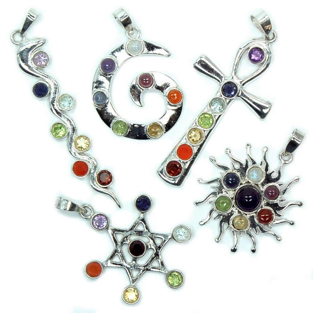 Assorted Lot of 7 Chakra Pendants (India)