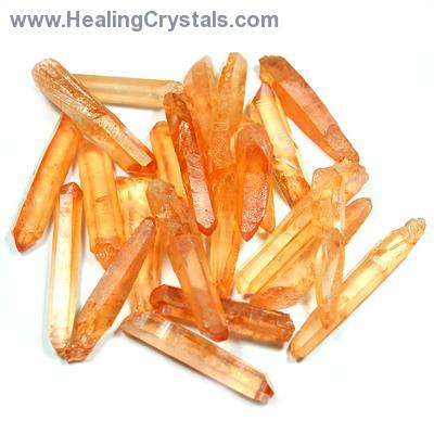Aura Quartz - Tangerine (Melon) Aura Jewelry Points (Brazil)