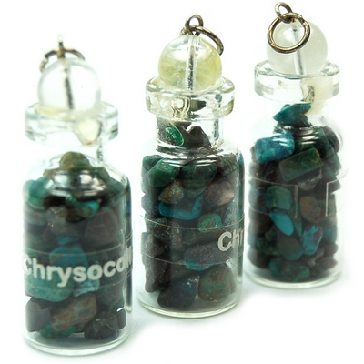 Bottles - Chrysocolla Crystals in a Bottle (India)