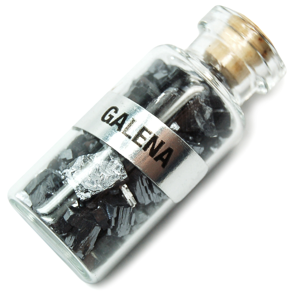 Bottles - Galena Crystals in a Bottle (India)