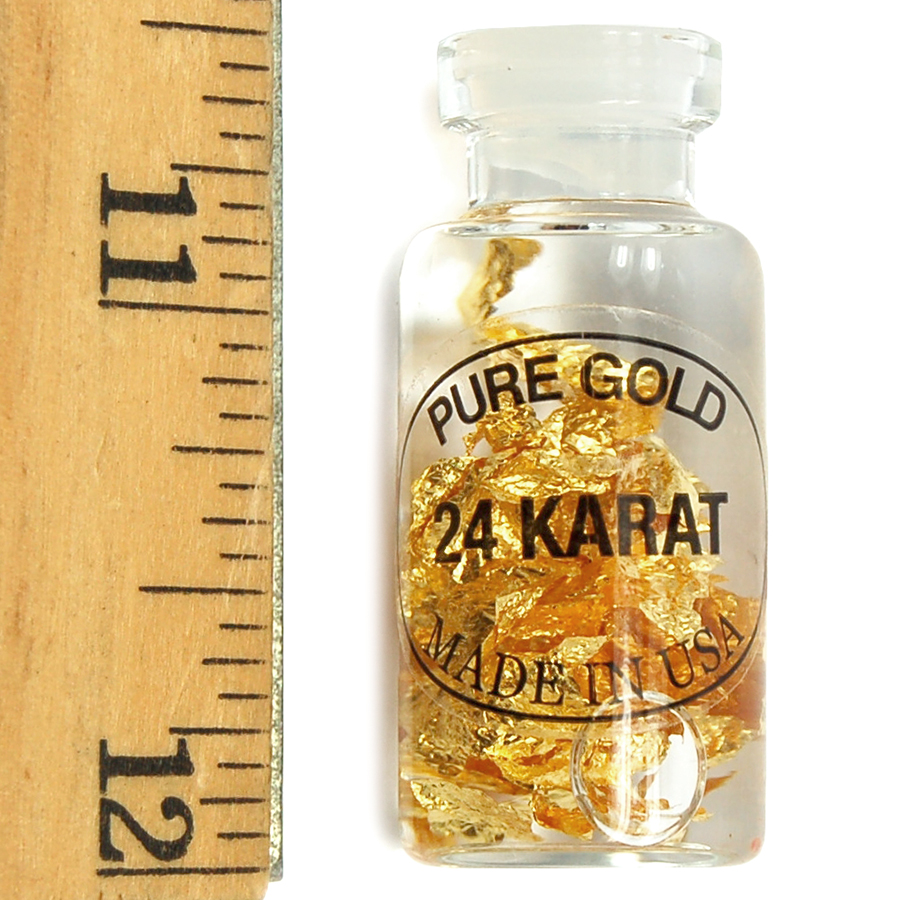 Bottles - Gold Flakes in Liquid in a Bottle (United States)