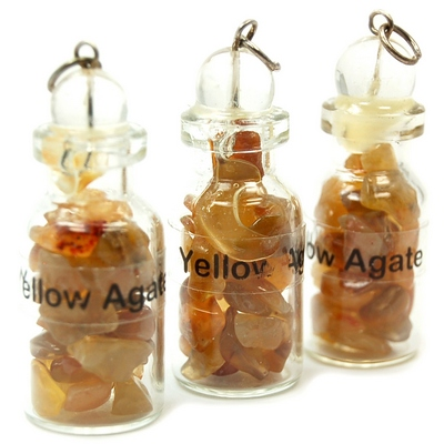 Bottles - Yellow Agate Crystals in a Bottle (India)