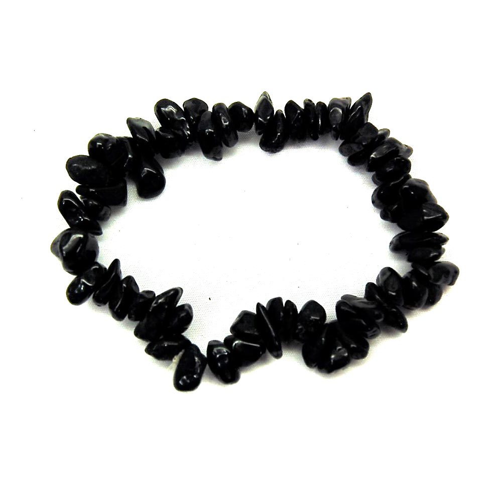 Bracelets - Black Tourmaline Single Strand Bracelet (India)