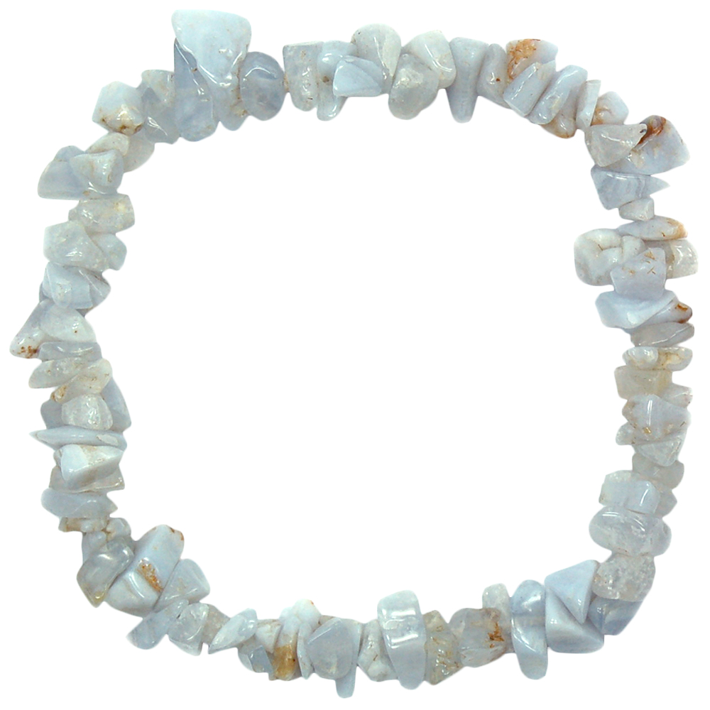 Bracelets - Blue Lace Agate Single Strand Bracelet (India)