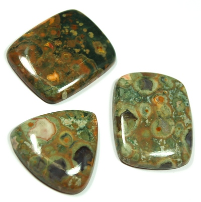 "Cabochons - Rainforest Rhyolite Cabochon ""Free-Form"" (India)"