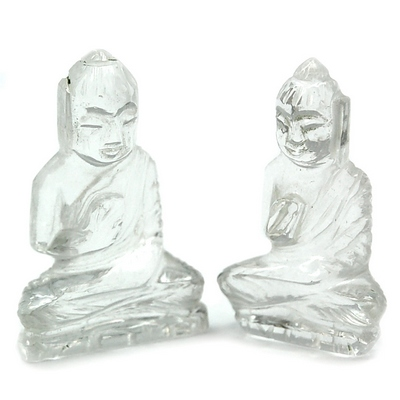 Discontinued - Clear Quartz Carved Buddha  (India)