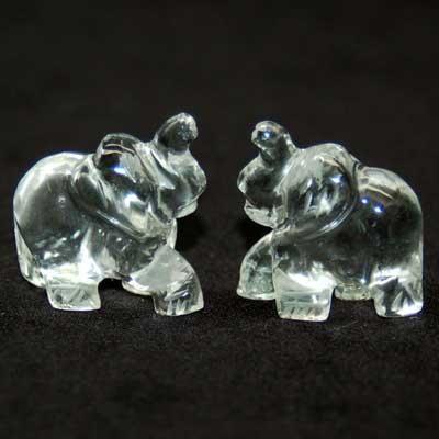 Carved Elephant - Clear Quartz Crystal (India)