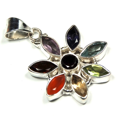 "Chakra Pendants - ""Flower"" Faceted Pendant (India)"