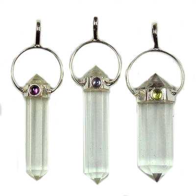 Pendants - Clear Quartz DT Pendant w/Gemstone (India)