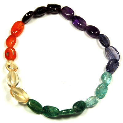 Discontinued - 7 Chakra Oval Bead Bracelet