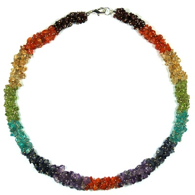 Crystal Necklaces - 7 Chakra Tumbled Rope Necklace