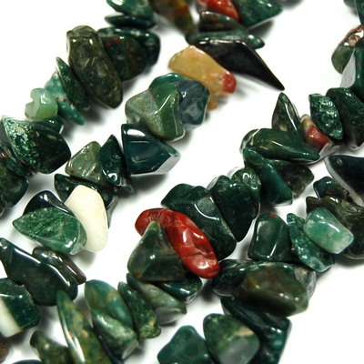 Necklaces - Bloodstone Tumbled Chips Necklace (India)