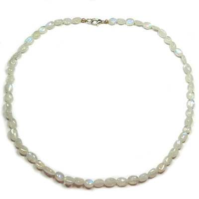 Discontinued - Rainbow Moonstone Oval Bead Necklace (India)