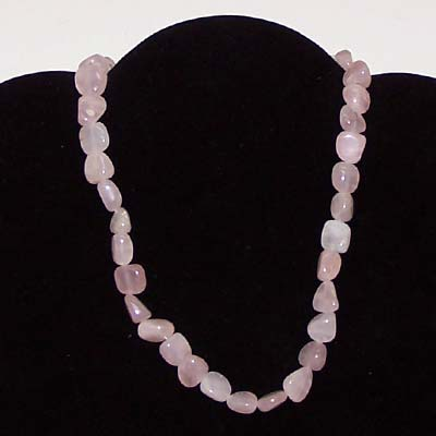 Crystal Necklaces - Rose Quartz Tumbled Nugget Necklace