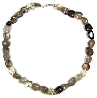 Necklaces - Smokey Quartz Tumbled Nugget Necklace (India)