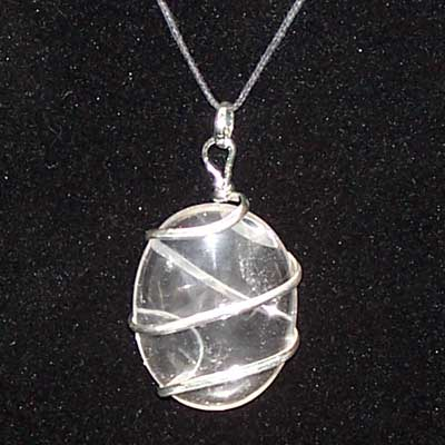 Crystal Pendants - Clear Quartz Cabochon Pendant (Wrapped)