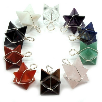 Pendants - 10pc. Chakra Merkaba (Wrapped) Pendants (India)