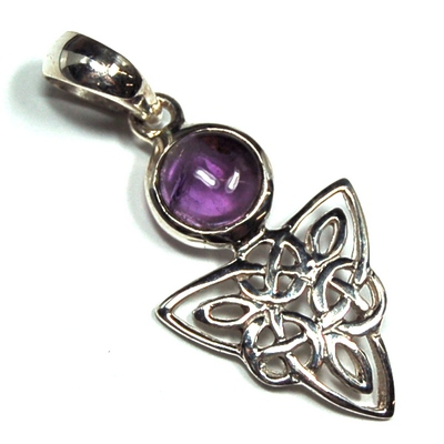 Pendants - Amethyst Celtic Triangle Pendant (India)