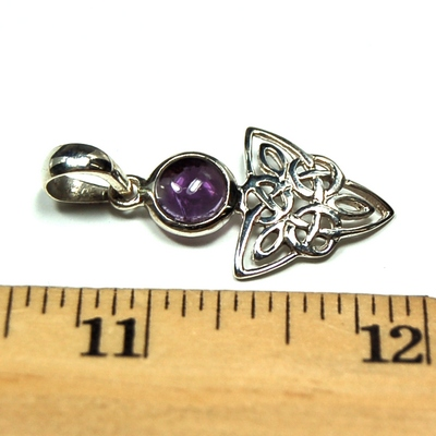 Crystal Pendants - Amethyst Celtic Triangle Pendant photo 3