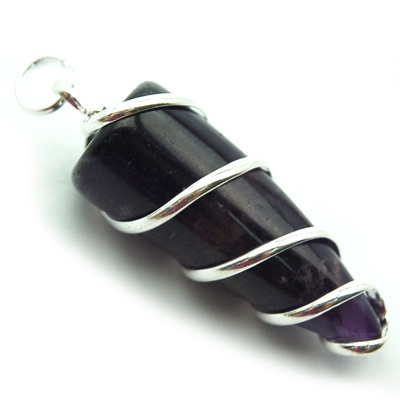 Pendants - Amethyst Cone (Wrapped) Pendant (India)