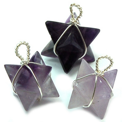 Merkaba Wire Wrap Pendant - Amethyst photo 2