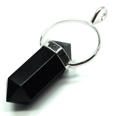 CLEARANCE - Black Agate 6-Sided DT Pendant (India)
