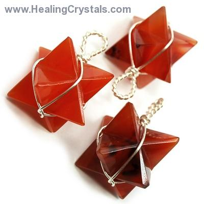 Pendants - Carnelian Merkaba (Wrapped) Pendant (India)
