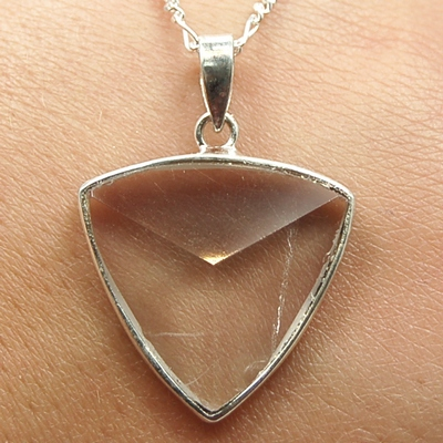 Discontinued - Clear Quartz Faceted Triangle Pendant (India)