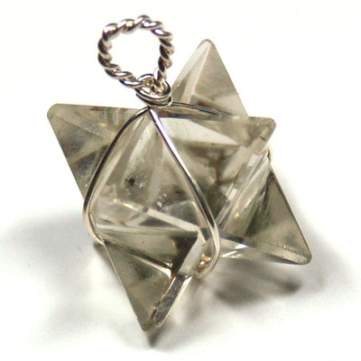 Pendants - Clear Quartz Merkaba Pendant (Wrapped) (India)