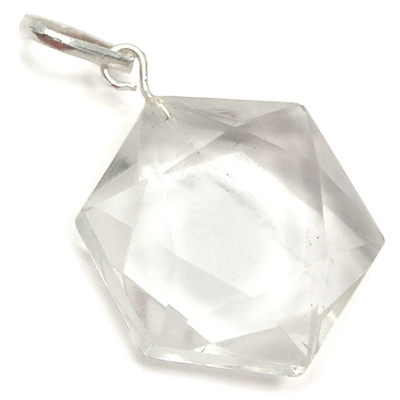 Pendants - Clear Quartz Star of David Pendant (India)