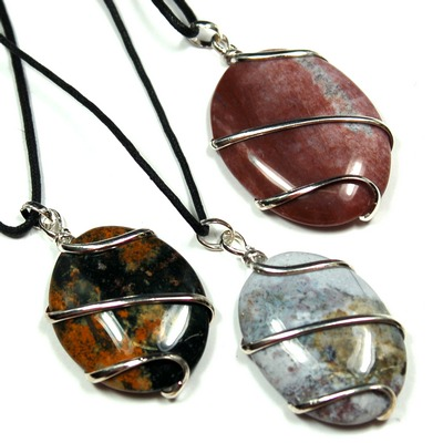 Pendants - Fancy Jasper Cabochon (Wrapped) Pendant (India)