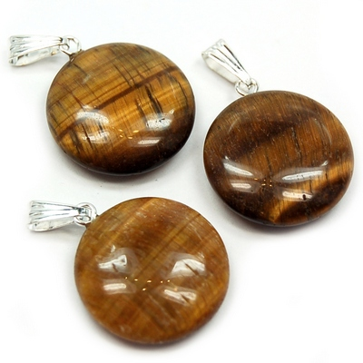 Pendants - Golden Tiger Eye Coin Pendant (China)