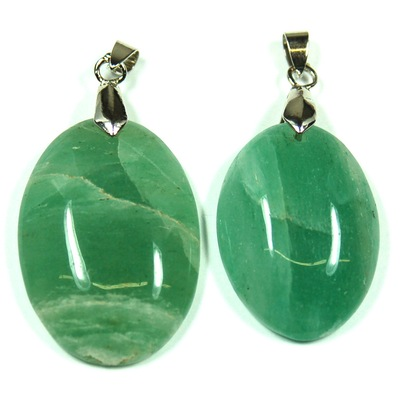 Pendants - Green Aventurine Oval Cabochon Pendant (India)