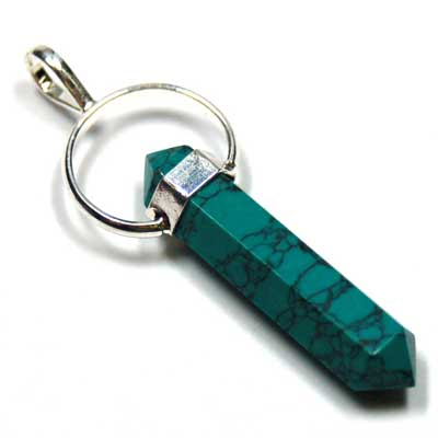 Pendants - Green Turquoise 6-Facet DT Pendant (India)