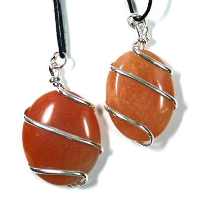 Pendants - Orange Aventurine Wrapped Cabochon Pendant (India)