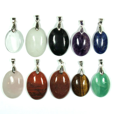Pendants - 10pc. Oval Cabochon Pendant Assortment (India)