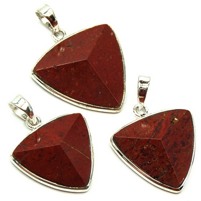 Discontinued - Red Jasper Faceted Triangle Pendant (India)