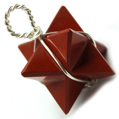 Pendants - Red Jasper Merkaba Pendant (Wrapped) (India)