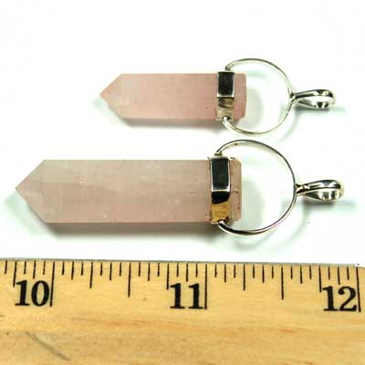 Pendants - Rose Quartz 6-Sided ST Pencil Pendant (India)