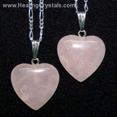 Crystal Pendants - Rose Quartz Heart Pendant