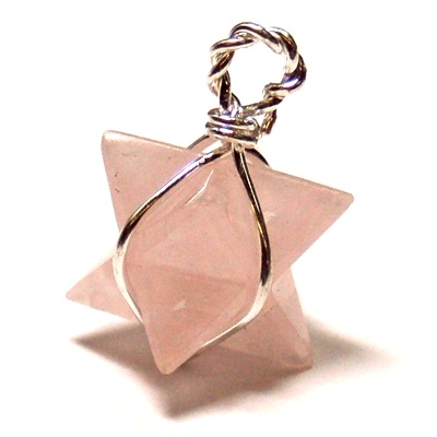 Pendants - Rose Quartz Merkaba Pendant (Wrapped) (India)