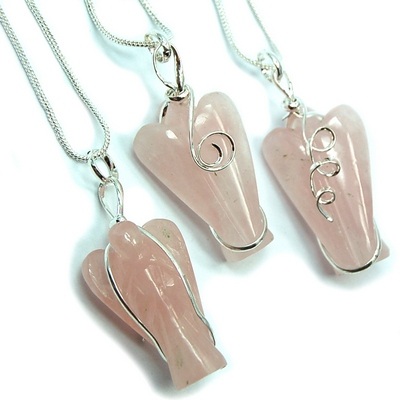 Pendants - Rose Quartz Wire-Wrapped Angel Pendant (India)