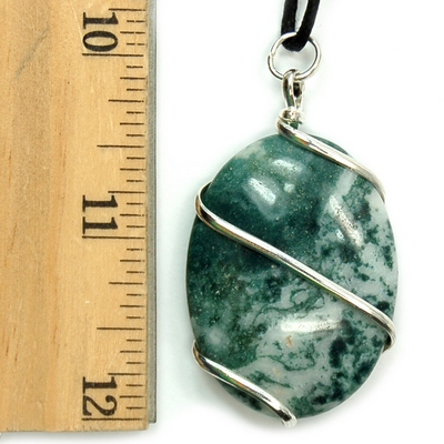 Pendants - Tree Agate Cabochon (Wrapped) Pendant (India)