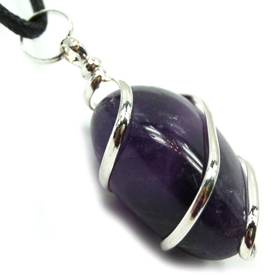 Pendants - Tumbled Amethyst (Wrapped) Pendant (India)
