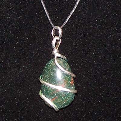 Crystal Pendants - Tumbled Bloodstone Pendant (Wrapped)