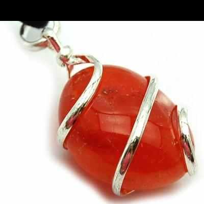 Pendants - Tumbled Red Carnelian (Wrapped) Pendant (India)