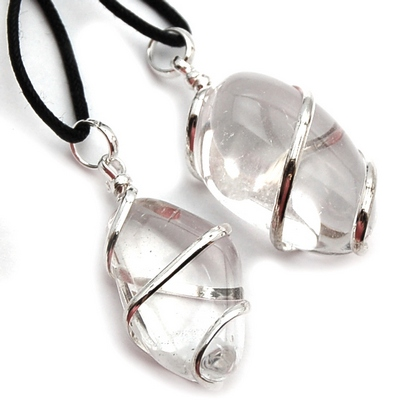 Pendants - Tumbled Clear Quartz (Wrapped) Pendant (India)